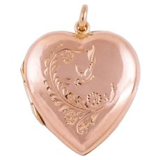 Antique Gold Heart Locket with Swallow Motif