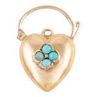 Victorian 15ct Gold Turquoise Heart Padlock Pendant
