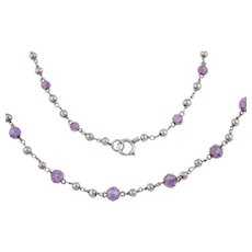 Arts and Crafts Silver Amethyst Bead Chain, 45""