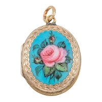 """Victorian Gold """"Roses"""" Enamel Locket, 9ct Gold Back and Front"""
