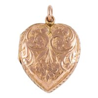 Victorian Gold Heart Locket, 9ct Gold Back and Front