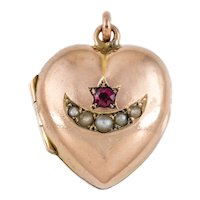 """Victorian Gold """"Moon and Stars"""" Heart Locket, 9ct Gold Back and Front"""