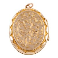 Antique Gold Chased Oval Locket, 9ct Gold Back and Front