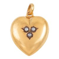 Victorian 15ct Gold Heart Pearl Charm