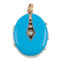 Antique 15ct Gold Blue Enamel Pearl Locket