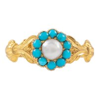 Antique 18ct Gold Pearl Turquoise Mourning Ring