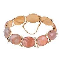 "Georgian 12ct Gold Pink Agate Bracelet, 6"""