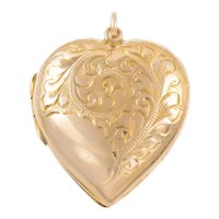Antique Gold Heart Locket, 9ct Gold Back and Front