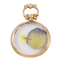 Antique Gold Glass Locket with Pressed Flowers, c.1910.