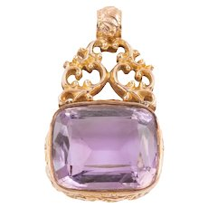 Antique Ornate Gold Amethyst Fob (24.00ct) c.1913