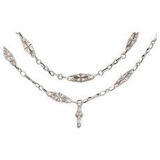 "Victorian Silver Fancy Chain, 35"""