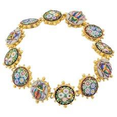 """Victorian Etruscan Revival Micro-Mosaic Bracelet, 8"""""""