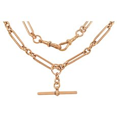 "Edwardian Rose Gold Trombone Link Albert Chain, 18 & 1/2"" (46g)"