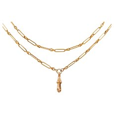 """Late Victorian Gold Trombone Lover's Knot Chain, 39 & 1/4"""" (19.8g)"""