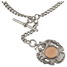 """Antique Heavy Silver Albert Chain with T-bar and Medal, 27"""" (102.6g)"""