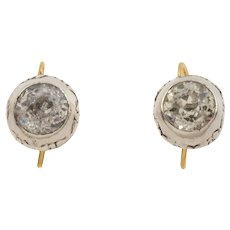 "Georgian Silver ""Pie Crust"" Paste Earrings with 18ct Gold Hooks"