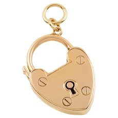 """Victorian 15ct Gold Heart Padlock, """"With Best Wishes"""""""