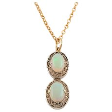"""Art Deco Silver Double Opal Drop Pendant (1.43ct), with 18"""" Chain"""