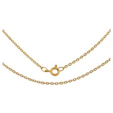 """18ct Gold Flat Link Pendant Chain, 15.5"""" (2.5g)"""
