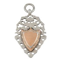 Antique Silver Gold Shield Medal Fob, c.1915