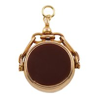 Victorian 15ct Gold Bloodstone Carnelian Spinner Fob