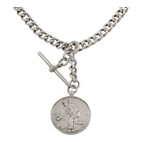 """Art Deco Silver Extendable T-bar Chain with Boules Medal, 21 & 6/8"""" (69g)"""