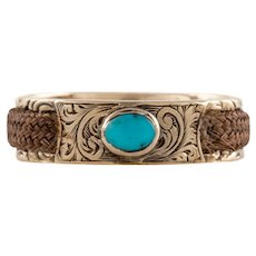 Victorian Gold Turquoise Mourning Ring, c.1858