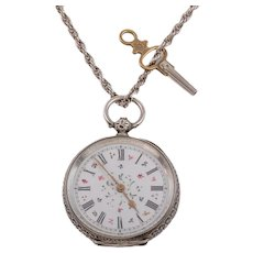 """Antique Swiss Silver Pocket Watch, with 25"""" Silver Chain"""