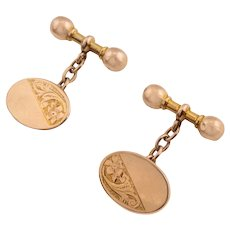 Edwardian Gold Oval Floral Cufflinks, c.1906