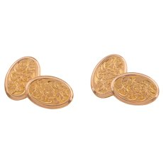 Antique Gold Oval Floral Chased Cufflinks, c.1912