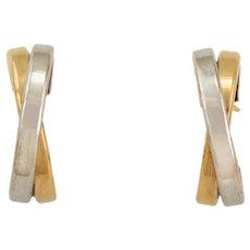9ct Bi-Colour Cross-Over Hoop Earrings
