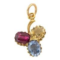 Victorian 15ct Gold Sapphire Garnet Shamrock Pendant