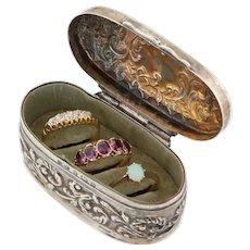 Edwardian Silver Embossed Triple Ring Box, c.1904