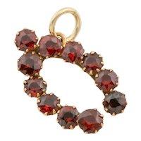 Victorian Gold Garnet Wishbone Pendant, (1.65ct)