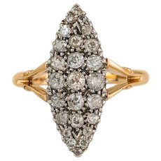 Victorian 18ct Gold Platinum Diamond Navette Ring, (0.75ct-1.00ct)