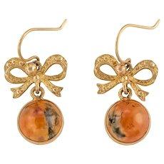 Edwardian Gold Moss Agate Bow Drop Earrings