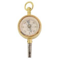 Antique Gilded Compass Carnelian Watch Key Pendant