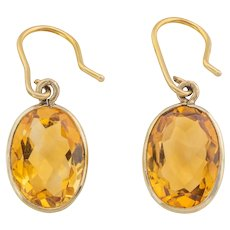 Victorian Gold Citrine Drop Earrings, (7.10ct)