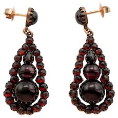 Victorian Bohemian Garnet Teardrop Cluster Earrings, (11.10ct)