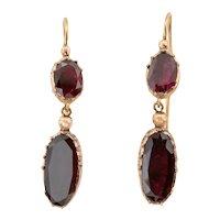 Georgian Gold Garnet Double Drop Earrings, (2.60ct)