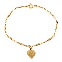 Antique 15ct Gold Twisted Paperclip Bracelet with Heart Charm, 7 & 3/4""
