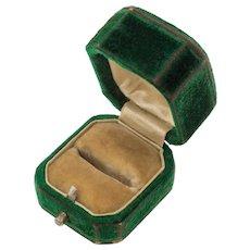 "Antique Green Velvet Ring Box, ""Walter Sandweil of Preston"""
