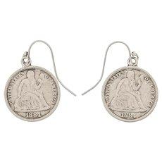 "American ""Liberty"" Coin Earrings, c.1884"