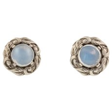Blue Flash Moonstone Silver Stud Earrings (2.60ct)