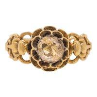 Georgian 15ct Gold Rose Cut Diamond Ring (1.00ct) -(6.5mm Foiled Natural Diamond)