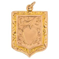 Antique Gold Engraved Shield Locket with Heart Engraving