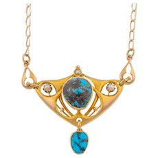 Art Nouveau Turquoise Pearl Pendant Necklace in 9ct Gold