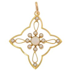 Victorian 9ct Gold Opal Pearl Cross Pendant (0.23ct)