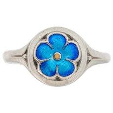 Silver British Arts & Crafts 'Forget-Me-Not' Enamel Ring