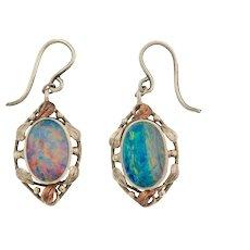 Art Nouveau Silver Opal Drop Earrings